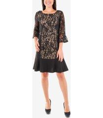 ny collection lace flounce-hem shift dress