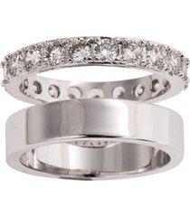 anel duplo the ring boutique liso e cravejado de zircônias ródio branco