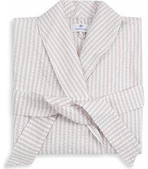 matouk matteo stripe robe, size medium/large - beige