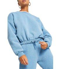 women's river island one washed drawstring hem logo sweatshirt, size large - blue