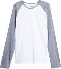 camiseta descanso m/l manga ranglan color blanco, talla xl