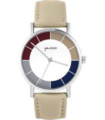 zegarek - classic, tricolor - skórzany, beżowy