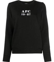 a.p.c. logo print sweatshirt - black