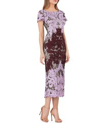 js collections women's boatneck embroidered midi dress - lilac navy - size 6
