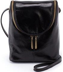 hobo fern leather crossbody bag - black