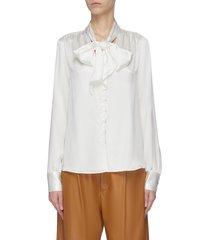 scarf neck silk charmeuse blouse