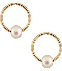 masako pearls 5-6mm white pearl & 14k yellow gold sleepers earrings