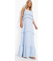 gingham maxi jurk met franjes en laagjes, blue