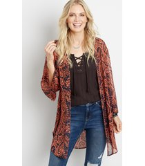 maurices womens paisley open front kimono blue