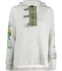 mr & mrs italy buckle fastened hoodie - grey