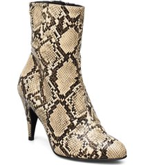 snake print bootie shoes boots ankle boots ankle boot - heel beige tommy hilfiger