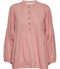 cotton pintuck top blouse lange mouwen roze rabens sal r