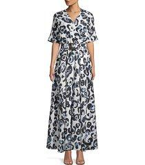 lafayette 148 new york women's agneta belted silk dress - cloud multi - size s