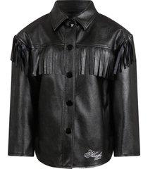 philosophy di lorenzo serafini kids black jacket for girl with logo