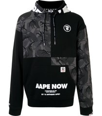 aape by *a bathing ape® hooded patchwork sweatshirt - black