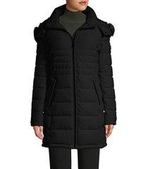 faux fur hooded puffer coat