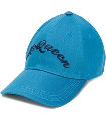 alexander mcqueen logo-embroidered baseball cap - blue