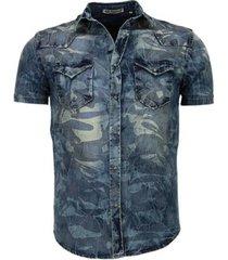 overhemd korte mouw enos denim korte mouwen leger motief