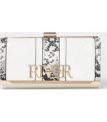 river island womens white embossed patent clip top purse