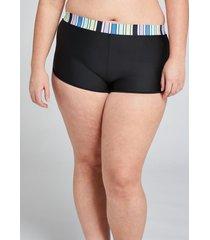 lane bryant women's printed dolphin-hem swim short 16 pastel stripes