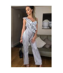 carys gestreepte ruches jumpsuit ivoorwit