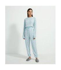 pijama blusa manga longa e calça em tricô com estampa floral | lov | azul | g