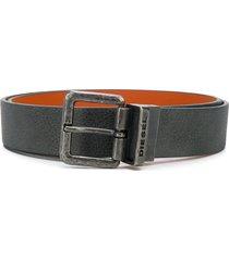 diesel textured leather belt - grey