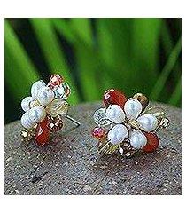 pearl flower earrings, 'autumn blossom' (thailand)