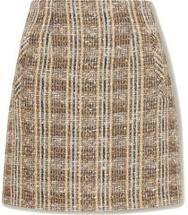 roman checked tweed mini skirt