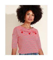 """blusa feminina listrada com bordado summer vibes"""" e tassel manga curta decote redondo vermelha"""""""