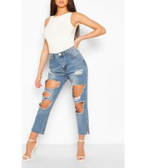 distressed jeans met vintage wassing en hoge taille, lichtblauw