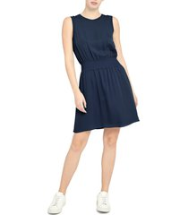 women's theory rib trim sleeveless silk dress