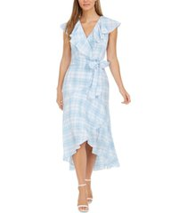 calvin klein ruffled plaid high-low surplice dress