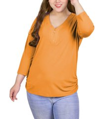 plus size long sleeve crepe knit v-neck top with zipper