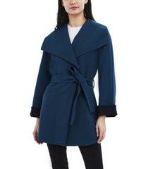 tahari belted crepe wrap coat