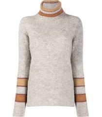 eleventy panelled turtleneck sweater - grey
