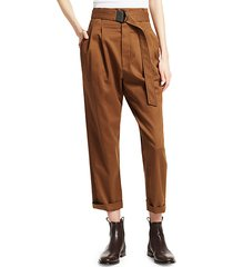 high-waist belted trousers