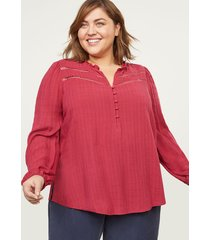 lane bryant women's ruffle-neck peasant blouse 26/28 wine