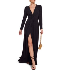 women's reformation gatsby front slit long sleeve maxi dress, size 0 - black