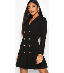 frill hem double breasted blazer dress, black