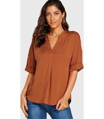yoins blusa de manga larga con cuello de pico naranja oscuro