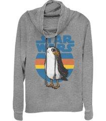 fifth sun star wars last jedi porg retro stripes logo cowl neck sweater
