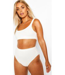 plus crinkle high waisted bikini, ivory