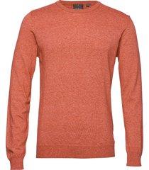 custer roundneck stickad tröja m. rund krage orange oscar jacobson