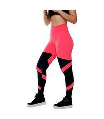 calça legging miss blessed estilosa rosa chiclete e preto