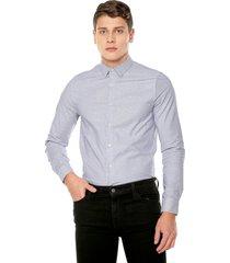 camisa azul-blanco calvin klein