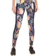 calça legging farm rio recorte lateral abacaxitos - feminina - cinza esc/laranja
