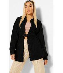 oversized corduroy blouse met ceintuur, zwart