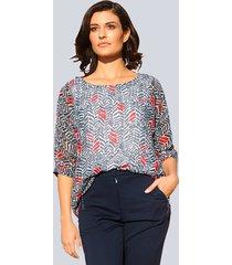 blouse alba moda marine::offwhite::rood