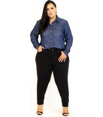 calça de brim feminina plus size da cambos - kanui